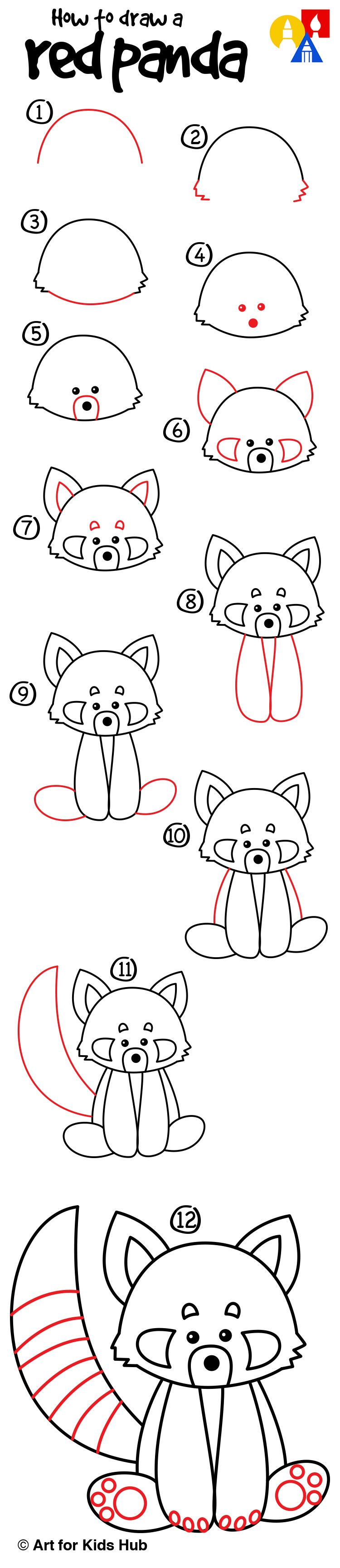 How To Draw A Red Panda Art For Kids Hub Facile à