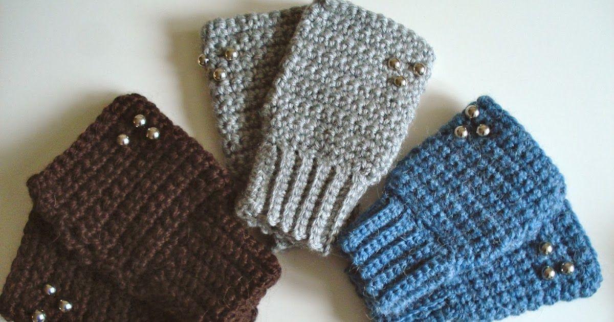 Patrón para hacer mitones de ganchillo o crochet con puño elástico ...
