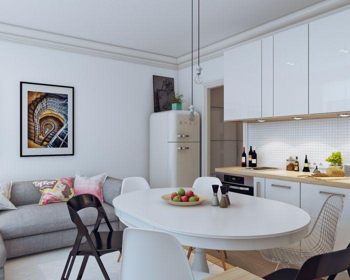 Cocinas blancas pequeñas, muestras de luminosidad y estilo