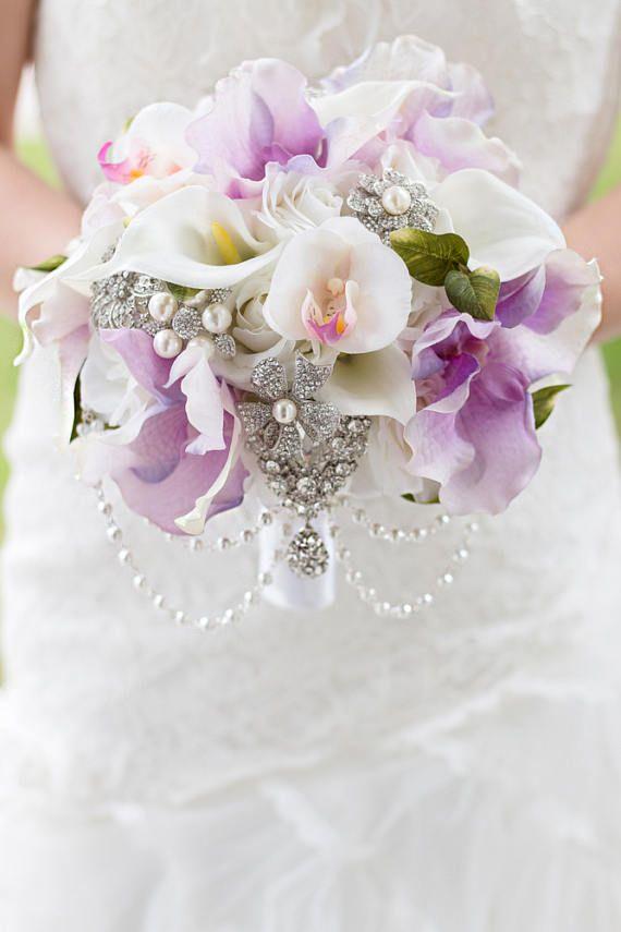 Custom Lavender Orchids, Calla, Silk Flower Brooch Bouquet, Real ...
