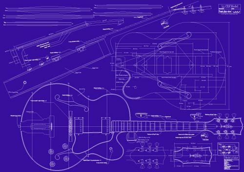 Gibson L5 Ces Jazz Guitar Decorative Blueprint A0 Size With