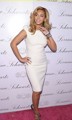 Beyonce Knowles White Elegant Cocktail Dress Launch Of Lorraine