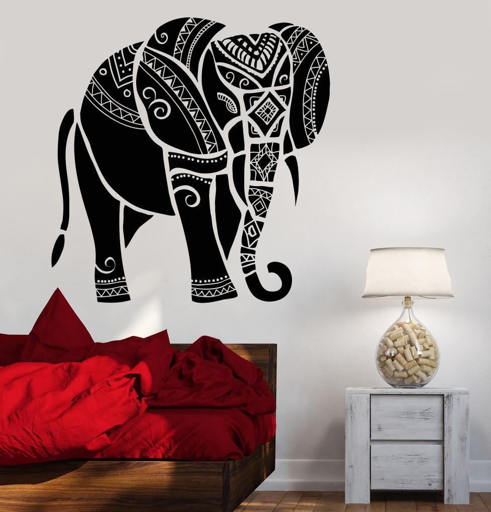 Vinyl Wall Decal Indian Elephant Animal India Hindu Stickers