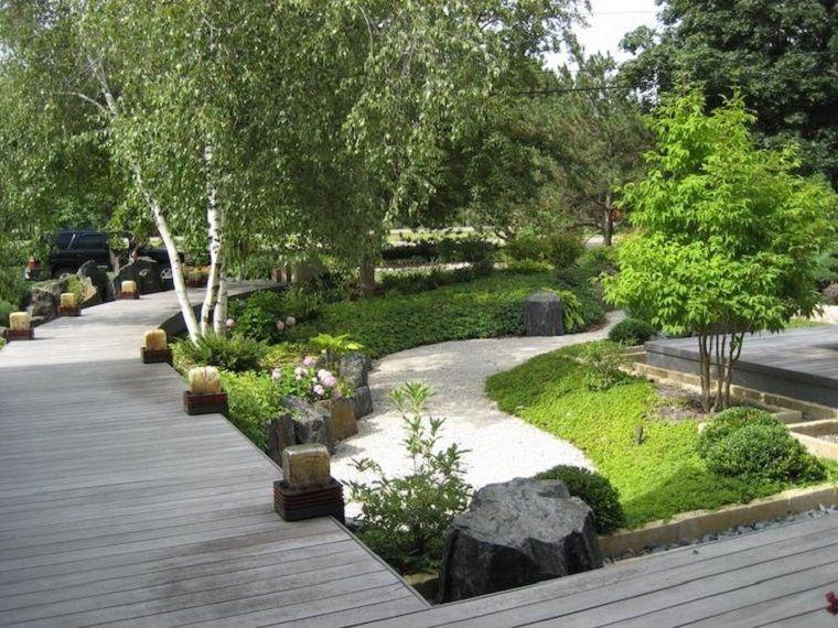 Giardini da copiare camminamento con ghiaia e alberi intorno