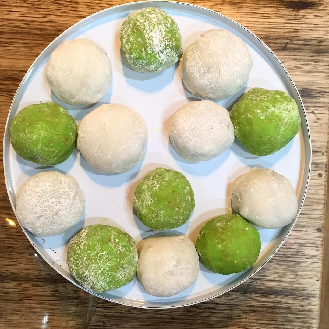 #daifuku or #mochi #Japanese sweets. Green apple and black sesame and mango and red bean paste. Does contain sugar but oh such a #sweet #treat
