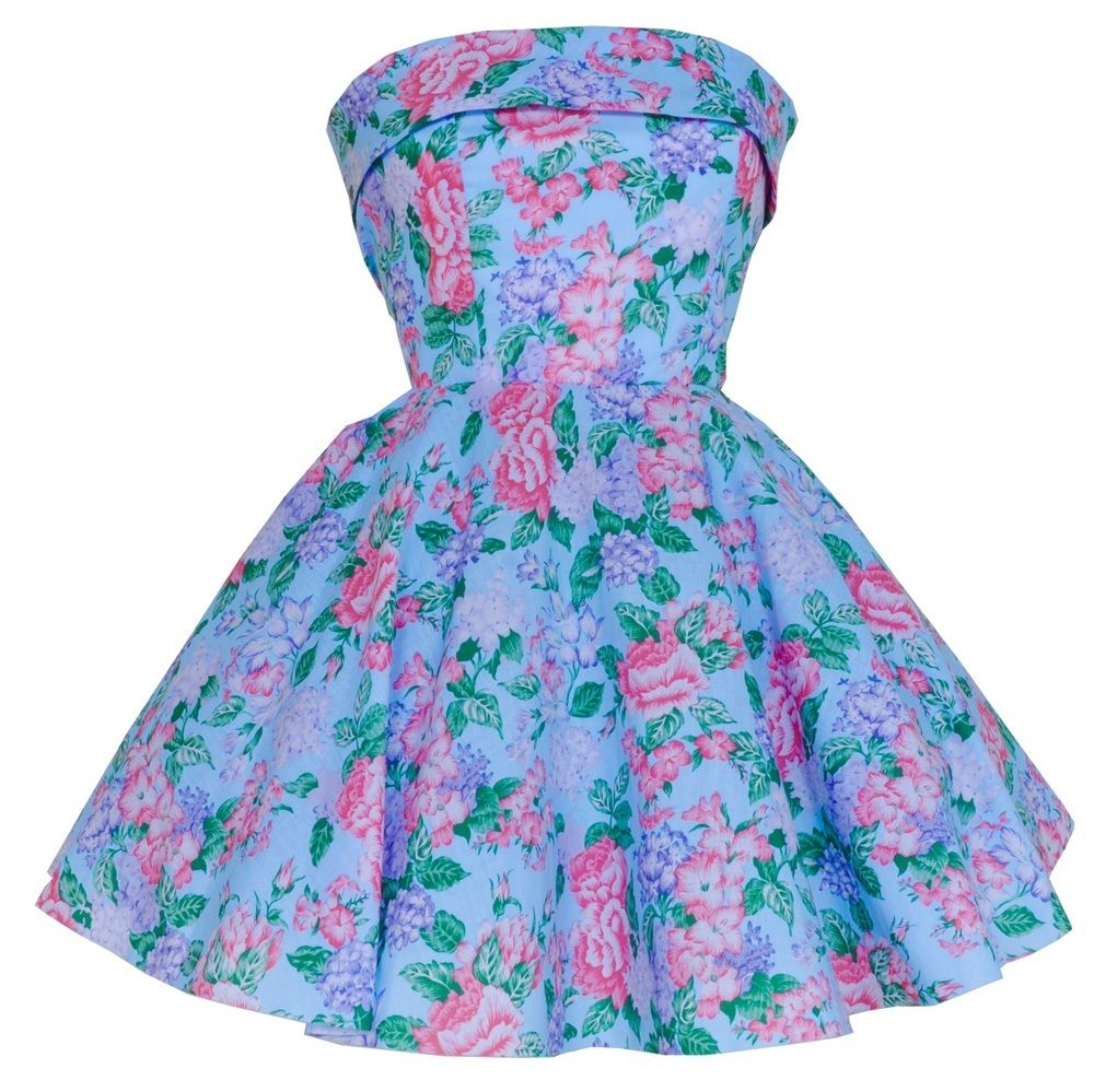 Image of Blue Floral Fifties Style Prom dress #floral #blue #florals ...
