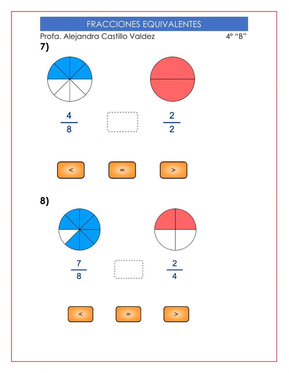 Fracciones Equivalentes 2 Ficha Interactiva Fracciones Equivalentes Fracciones Ejercicios De Fracciones