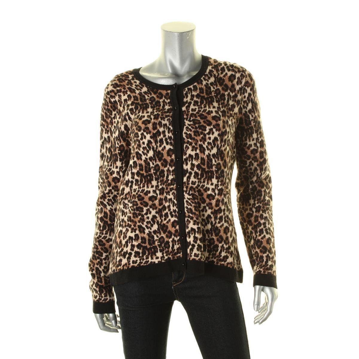 Womens Animal Print Contrast Trim Cardigan Sweater | Printing ...