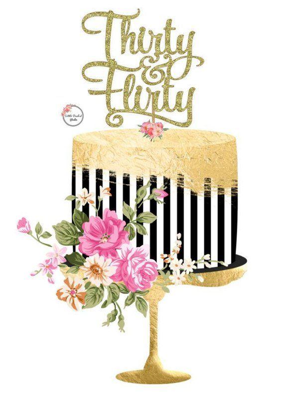 30th Birthday Cake Topper Gold Glitter Happy