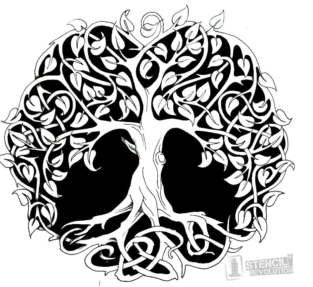 Tree of life stencil printable stencils stenciling and for Printable tattoo paper