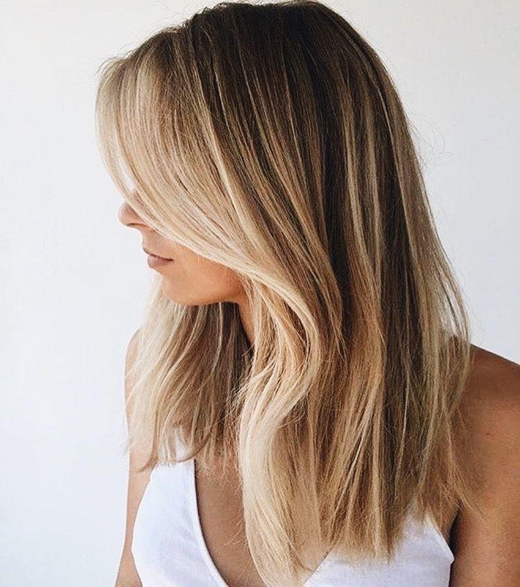 Blonde brown balayage medium length straight hair