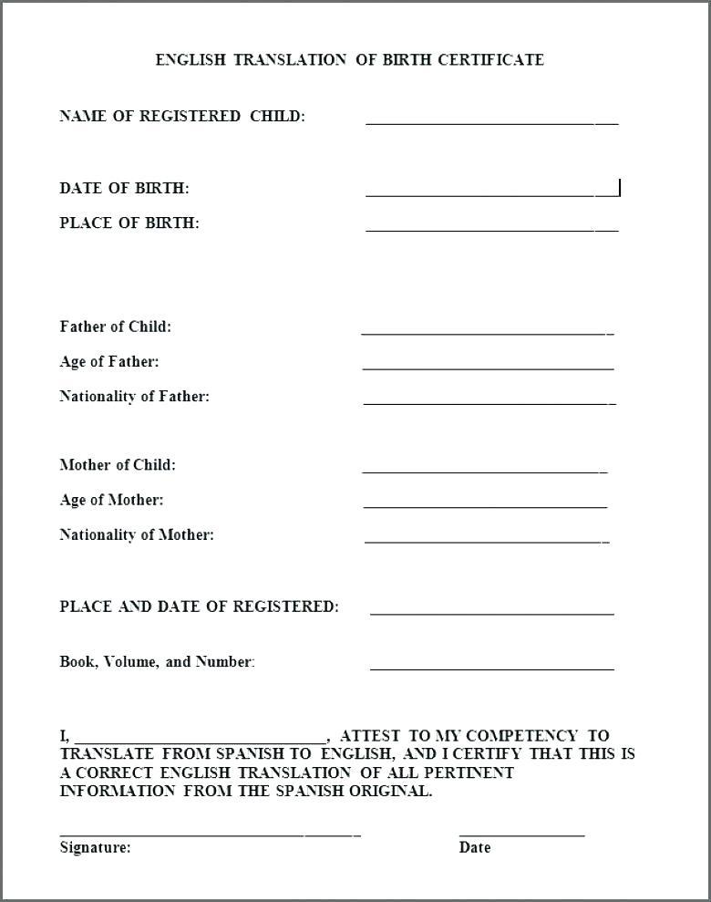 Birth Certificate Translation Template Uscis 2 Templates