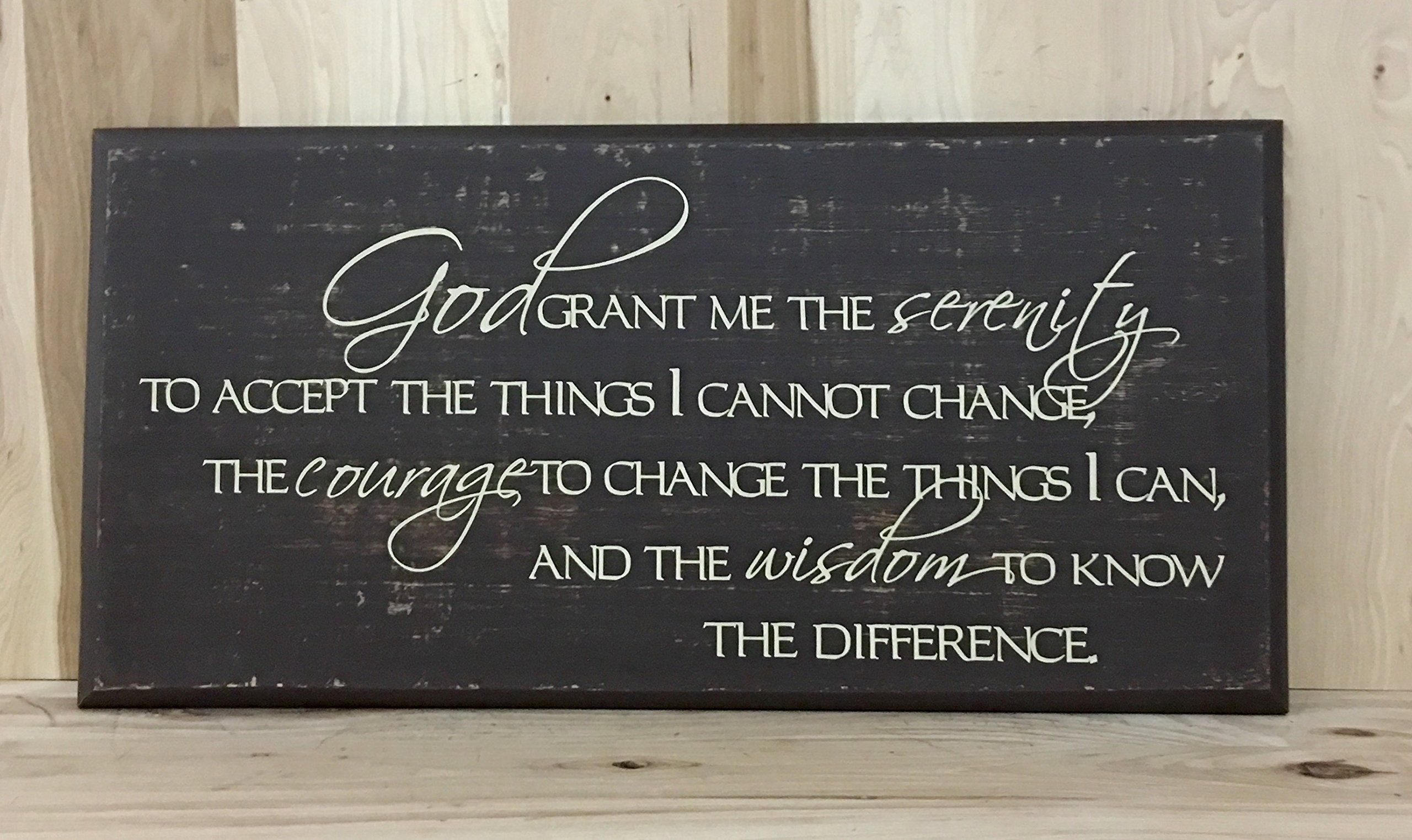 Serenity prayer wood sign, Christian wall art, inspirational gift, religious sign decor. This wood sign is perfect for any home's décor. -This sign is approximately 12x24 inches. -There is a sawtooth hanger on the back for easy hanging. -The words are done with professional grade vinyl. -The sign in the first 2 pictures is light distress brown with cream lettering. -For other color options, refer to pictures three, four and five.