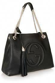 b8a314640d6  2600 - Gucci Soho Medium Black Double Leather Chain Shoulder Bag Tote  Black Gold New  Designerhandbags  newdesignerhandbags