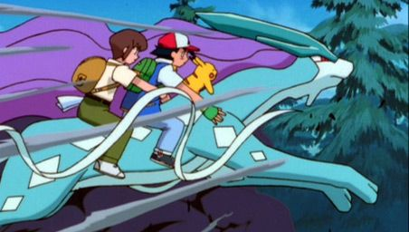 Ash and the gang on Suicune | Pokemon, Pokemon movies, Evil