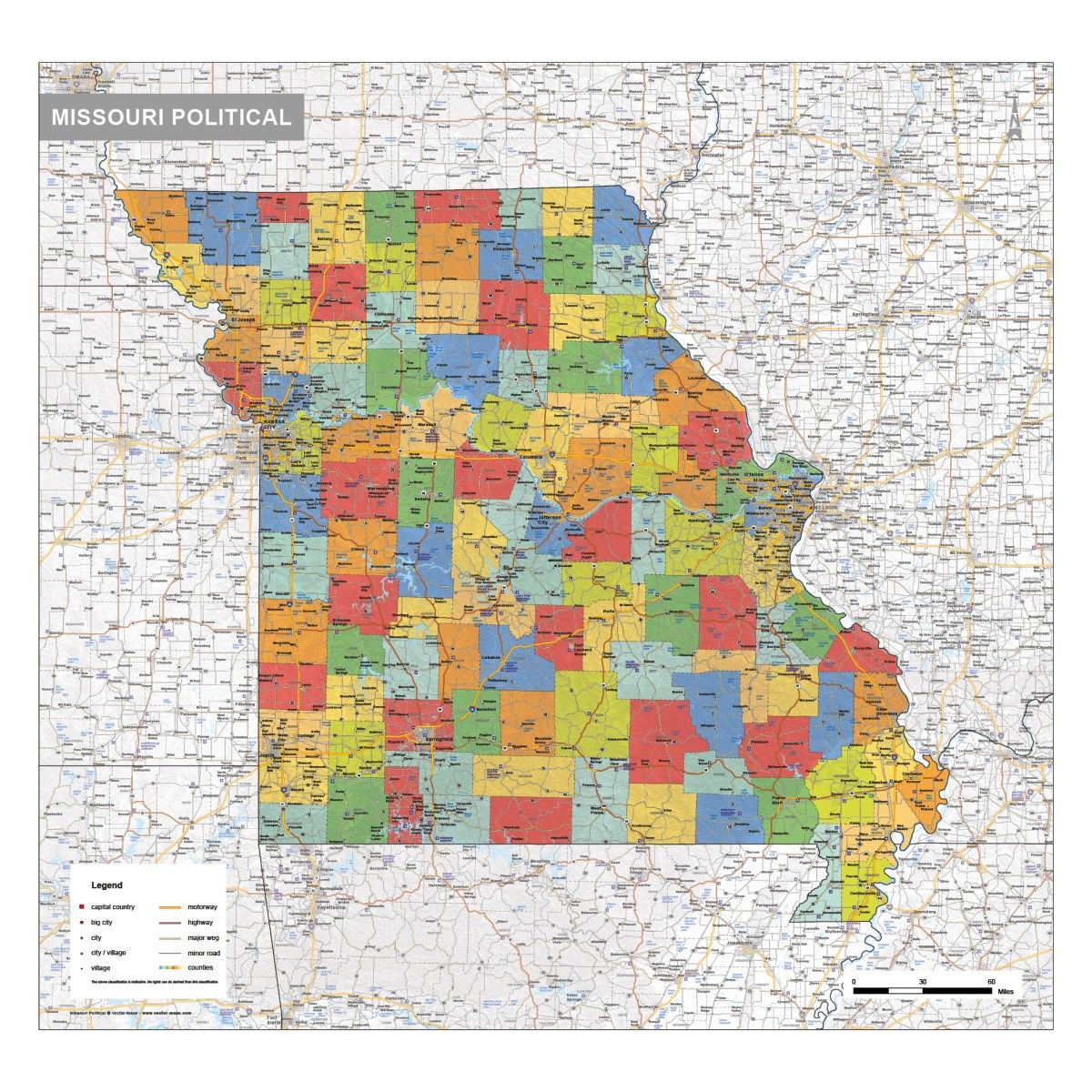 Missouri political   County map, Map, Us map