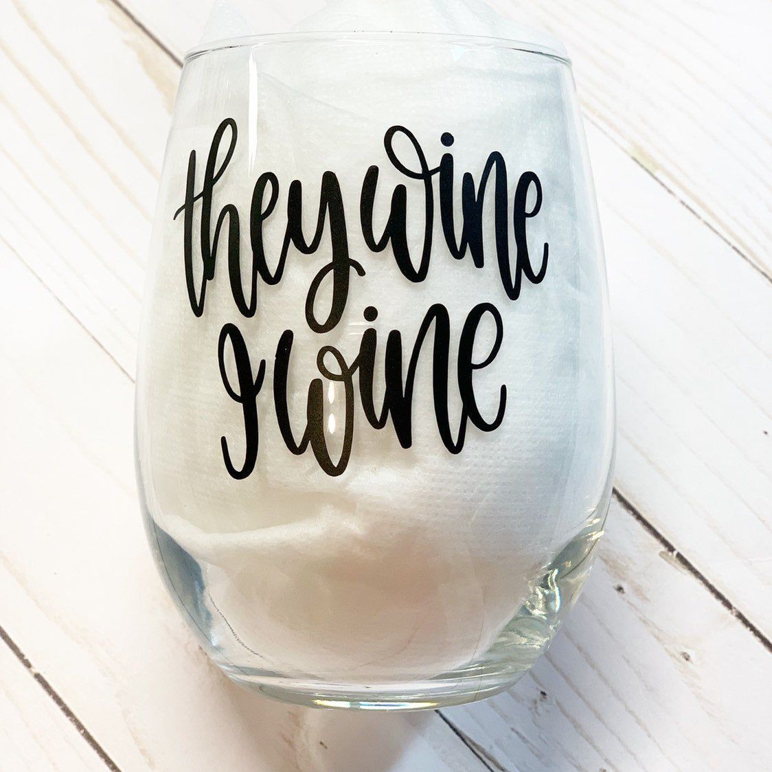 Wine glass funny sayings, New mom gift, Stemless Wine
