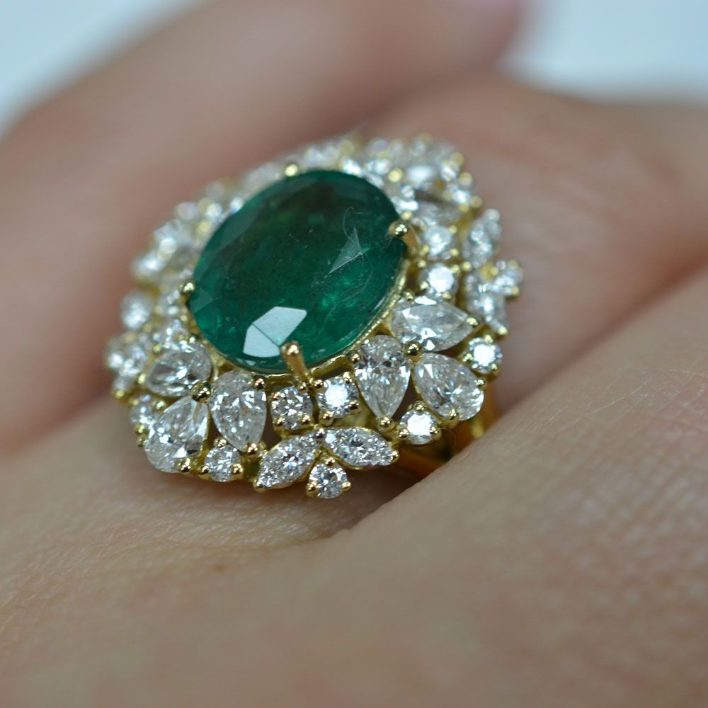 round rings set emerald vintage carat band matching flower gold white stacking ring diamond wedding engagement