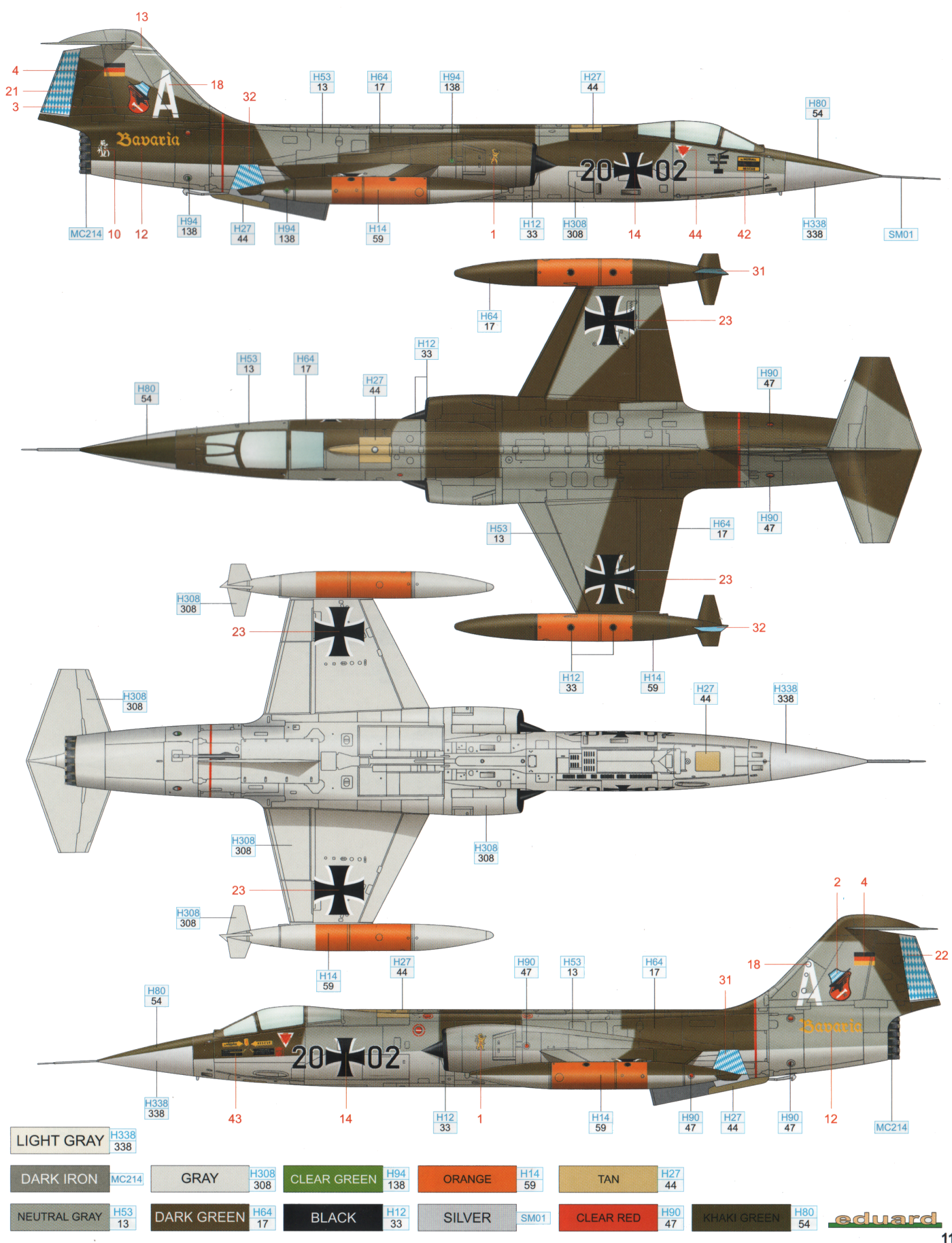here is the f 104g starfighter norm 62 camouflage color profile