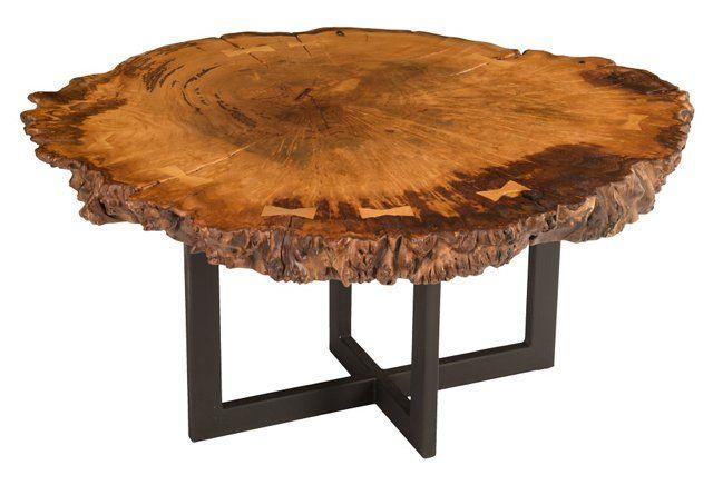 Round Burl Wood Coffee Table Brown Runder Holztisch Couchtisch Holz Wohnzimmertische