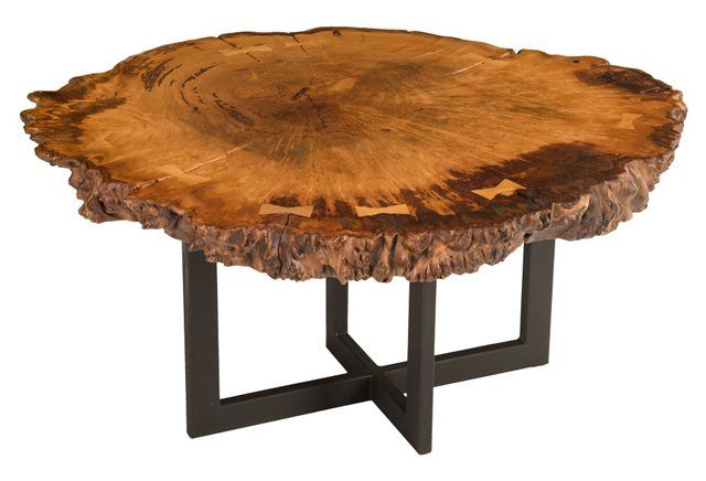 Round Burl Wood Coffee Table Brown Burled Wood Coffee Table