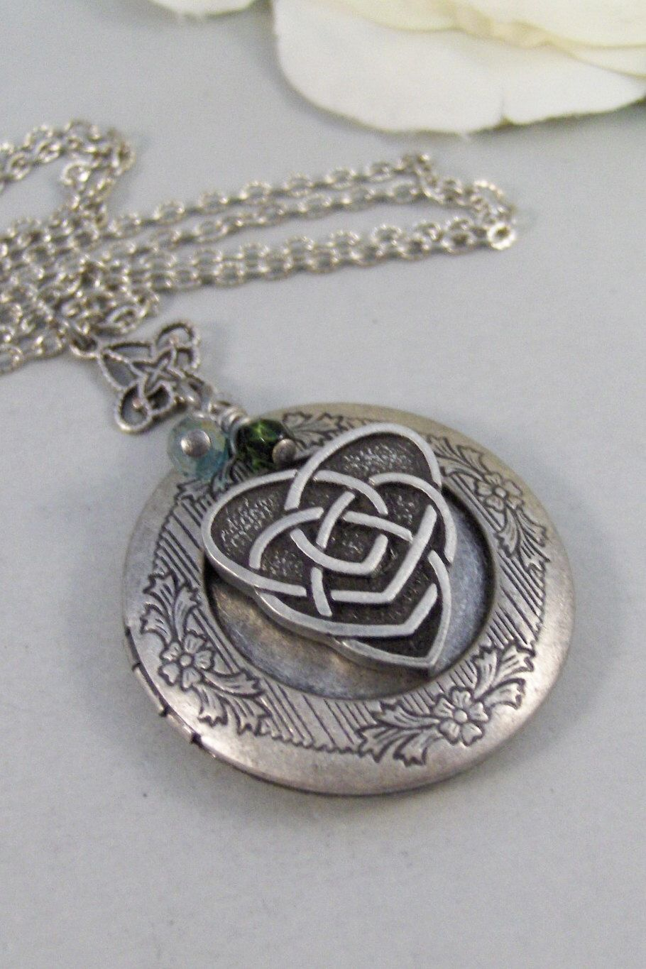 sterling necklace locket in knot silver celtic lockets