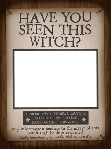 Filler Card/Photo Frame - WWoHP - Have you seen this Witch? - Harry ...