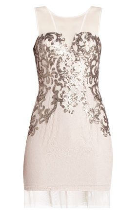 c0ad6552785e7 Nude Foil Metallic Embellished BCBGMAXAZRIA Abigail Paisley Sequin Mini  Dress @ BCBG $220