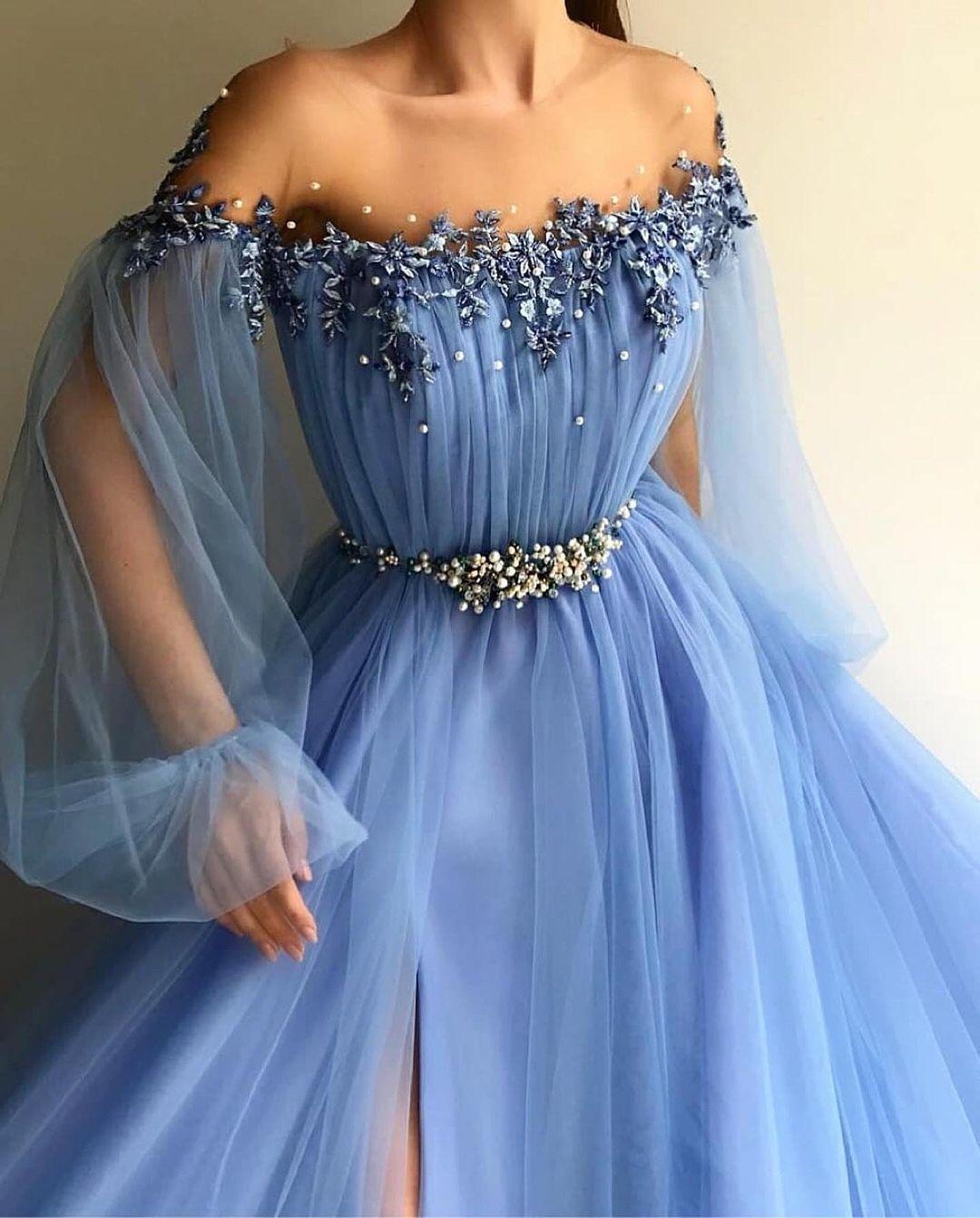 Lindo vestido de Baile 3D Floral Mangas Compridas Vestidos