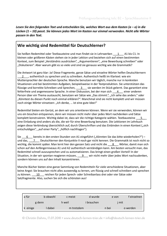 B2 Telc Sprachbausteine Ii Redemittel Unterrichtsmaterial Im Fach Daz Daf In 2020 Deutsch Lernen Lernen Deutsch Prufung