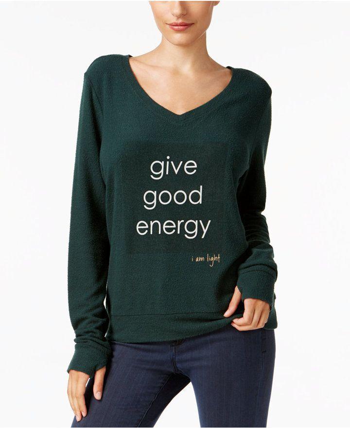 Peace Love World Give Good Energy Graphic Print Sweatshirt