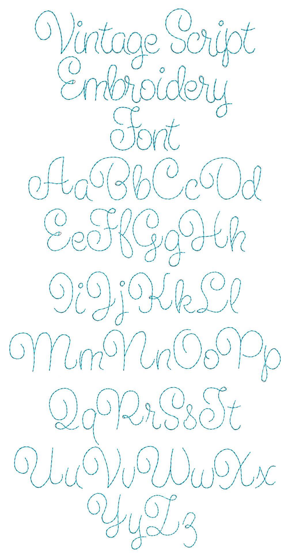 Vintage Script Font Hand Embroidery Letters Hand Embroidery Patterns Free Machine Embroidery Patterns
