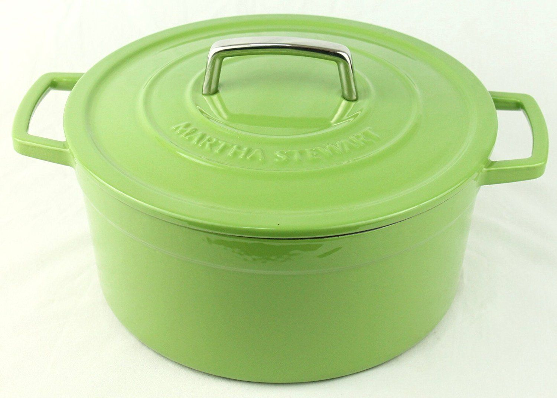 Green enameled cast iron 6 qt round dutch oven casserole