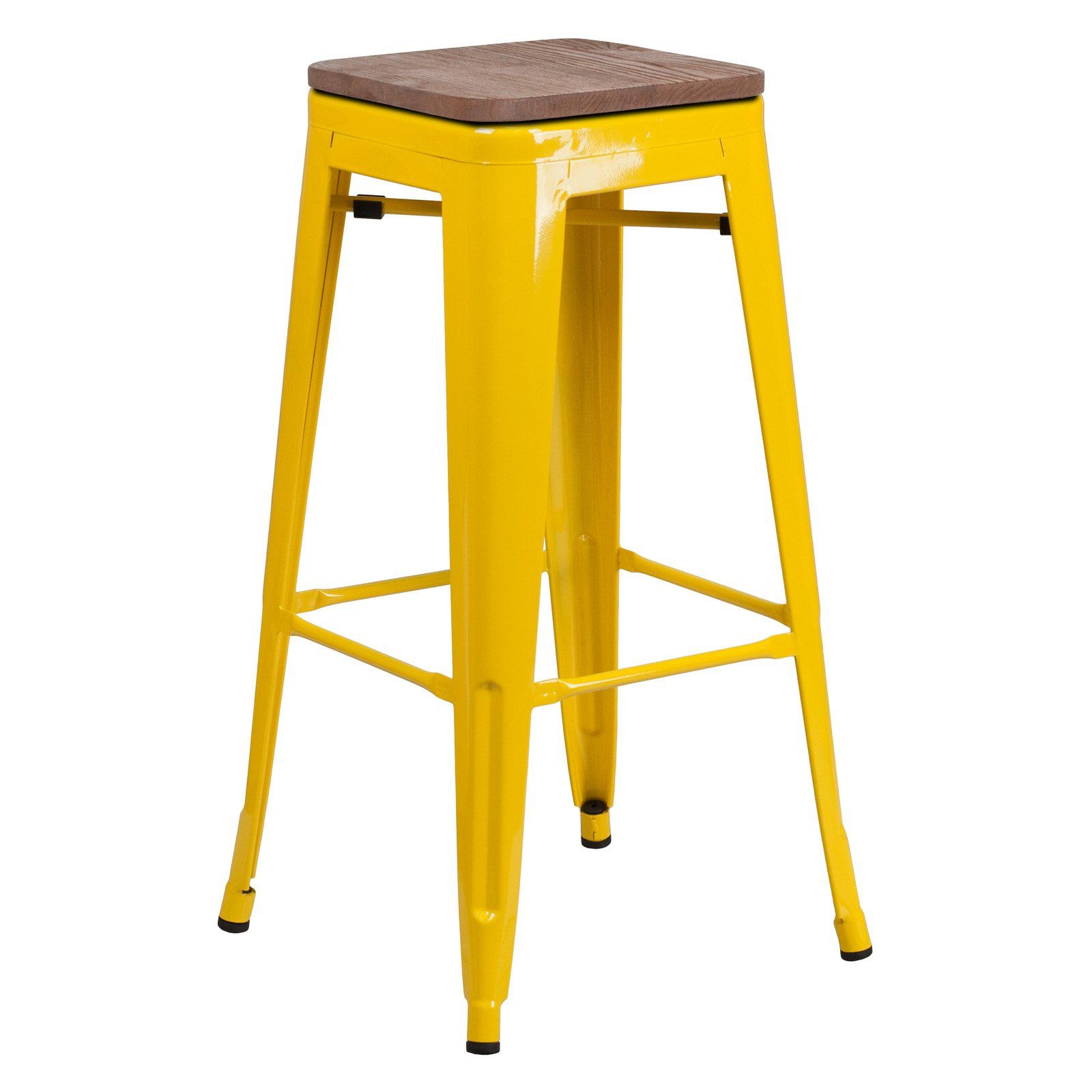 Flash Furniture Metal Backless 30 In Wooden Seat Bar Stool Purple
