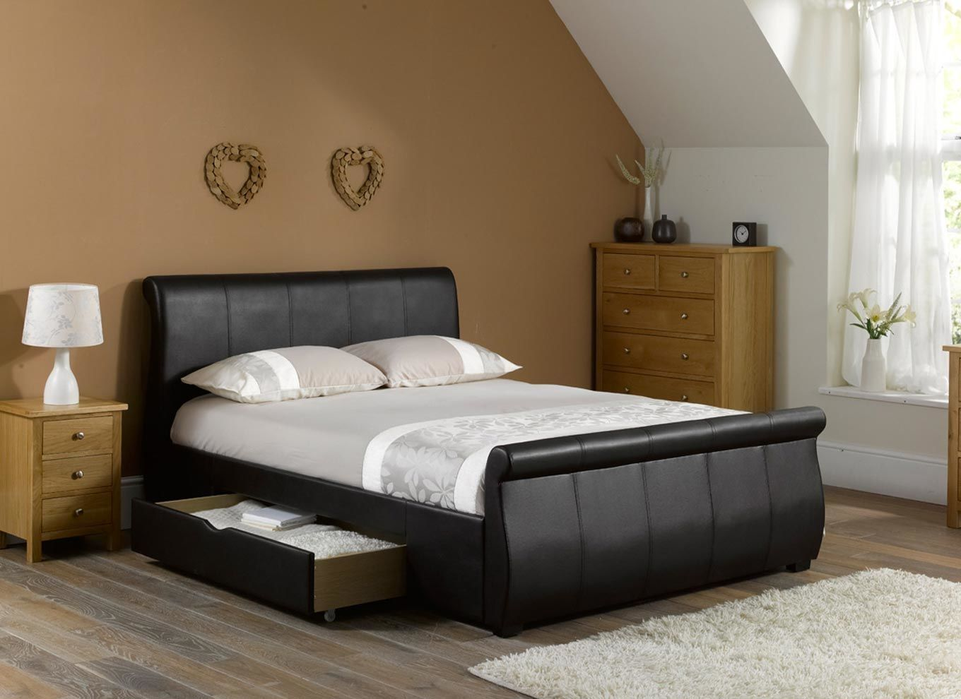 Leather Sleigh Beds With Drawers Ashley bedroom