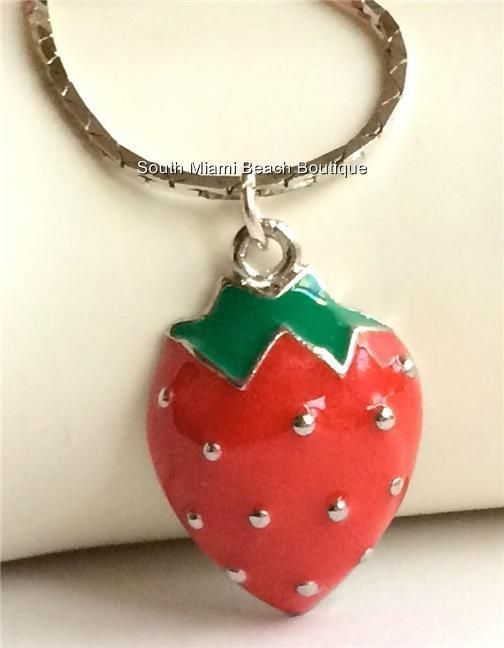 Silver Strawberry Necklace Plated Red Green Enamel Food Fruit Pastry Chef Gift #Unbranded #Pendant