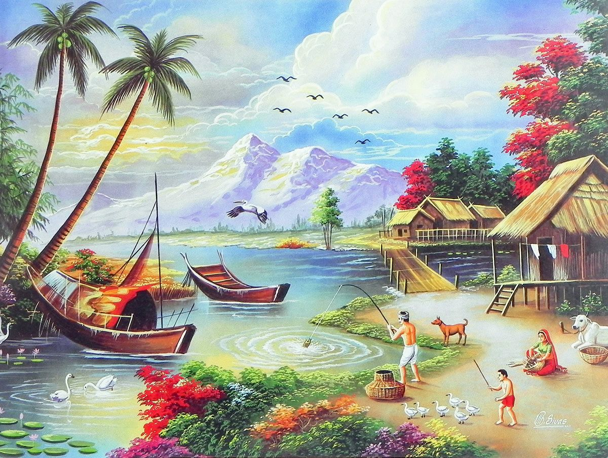 Contentment Scenery Paintings Art Village Nature Paintings