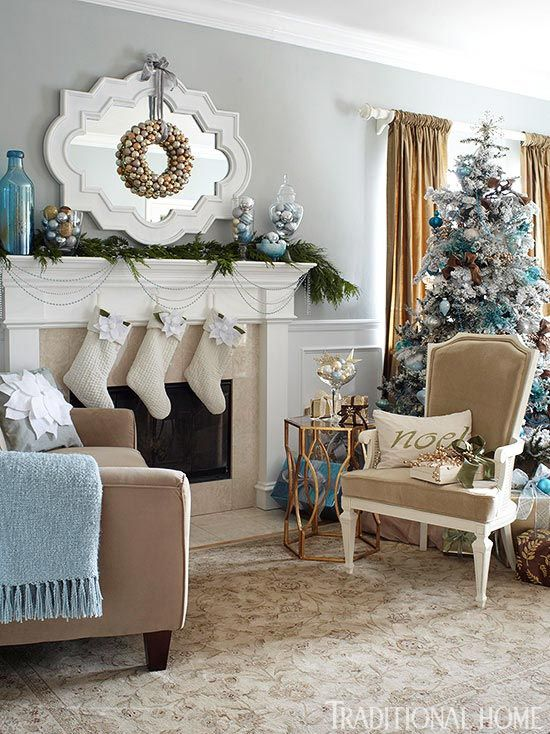 Best Top Blue And White Blue And Silver Christmas Decorations Christmas Living Rooms Blue 400 x 300