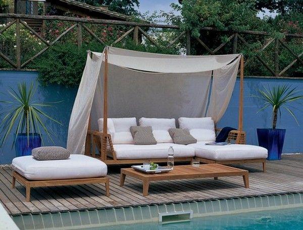 ecksofa mit sonnenschutz stoff segel beistelltisch teakholz gestell garten pinterest segel. Black Bedroom Furniture Sets. Home Design Ideas