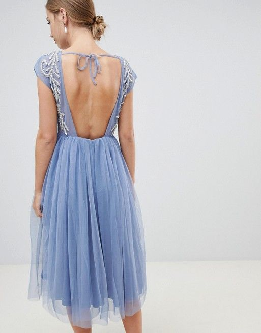 Design Embellished Open Back Tulle Midi Dress In 2019