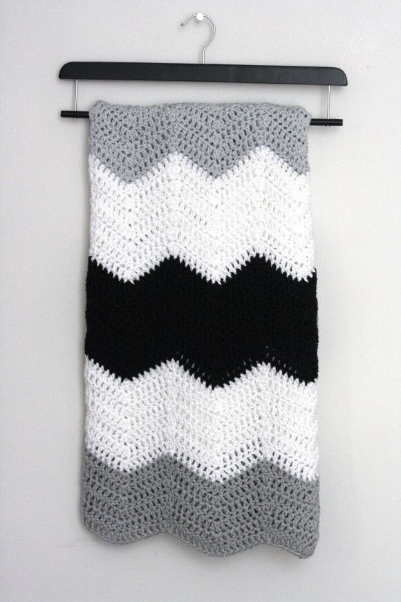 Large stripe chevron blanket pattern // crochet pattern. | Tejido ...