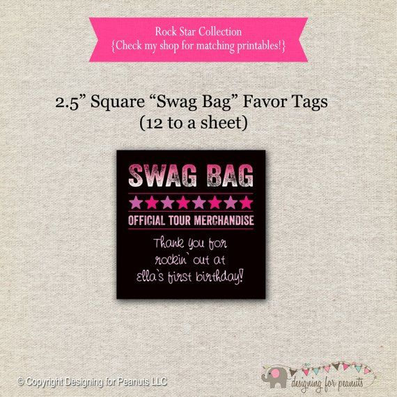 Rock Star Favor Tags - pink purple | Rock Star Thank You Tags | Rock Star Swag Bag Gift Tags | Rock Star Party Printables #rockstarparty