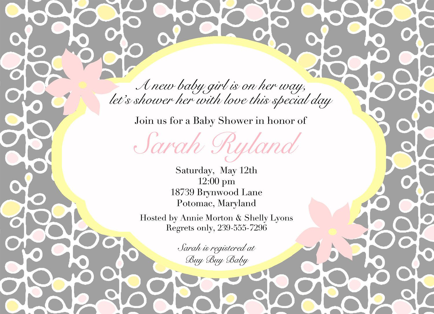 coed baby shower invitation wording | pink and yellowa baby shower, Baby shower invitations