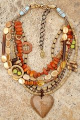 Exotic Natural Material Multi-Strand Heart Pendant Necklace