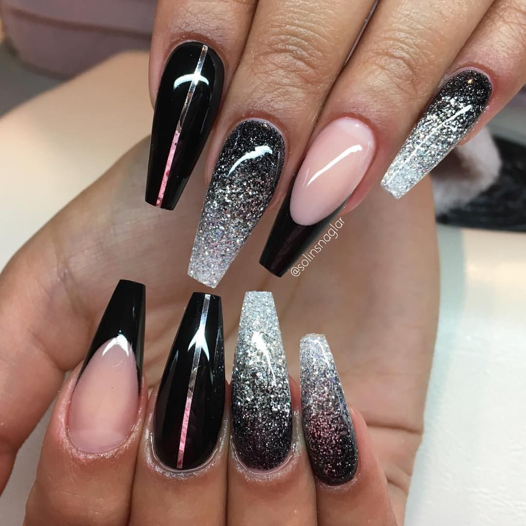 Black And Glitter Ombre Nailz