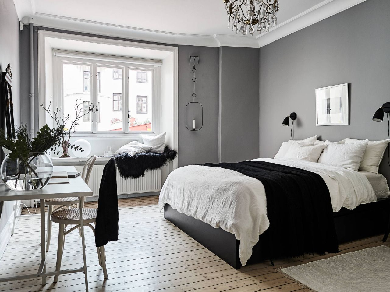 Window seat with bed  scandinavian bedroom with window seat  bedroom  pinterest  window