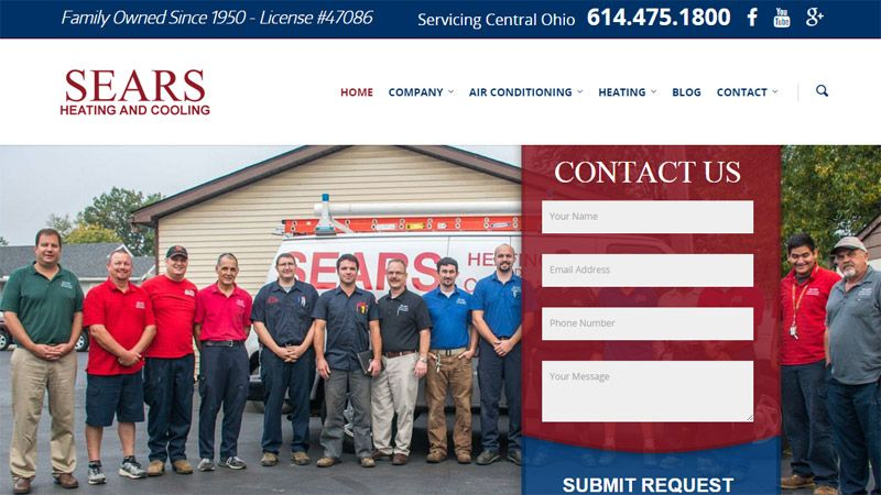 New Website Design and Launch Sears Heating and Cooling