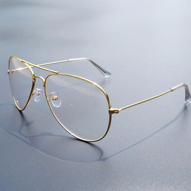 Retro Vintage Look Aviator Gold Clear Lens Glasses Fashion ...