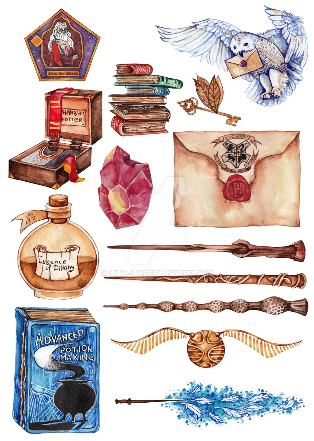 Harry Potter objects and spells by Lily--Lu on DeviantArt