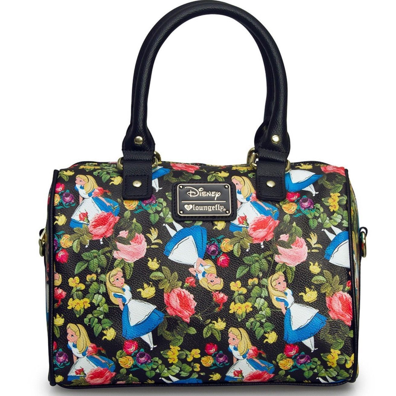 d2689ed77c Disney Alice in Wonderland floral print bag by Loungefly. Comes in multi  color print on pebble faux leather. Included adjustable shoulder strap.